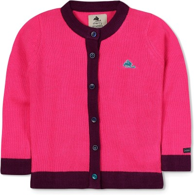 Cherry Crumble California Self Design Boat Neck Casual Baby Girl's Pink Sweater