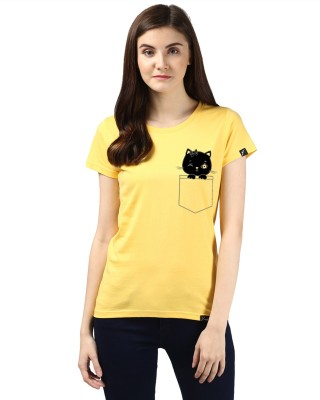 Young Trendz Abstract Women Round Neck Yellow T Shirt Young Trendz Women's T shirts