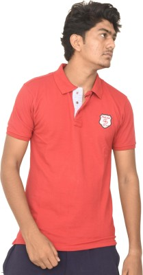moudlin Solid Men Polo Neck Maroon T-Shirt