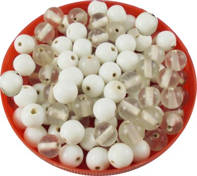 estore white color handmade round glass beads mixing 100 gm, 5 to 15 mm,approx 110 beads for art & craft , jewellery making DIY kit  available at flipkart for Rs.149