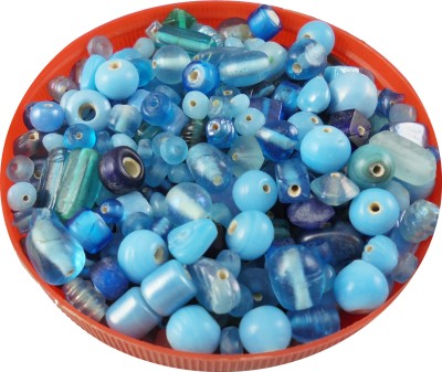 estore turquoise & bluecolor handmade glass beads mixing 100 gm, 5 to 15 mm,approx 110 beads for art & craft , jewellery making DIY kit  available at flipkart for Rs.149