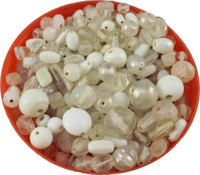 estore white handmade glass beads mixing 100 gm, 5 to 15 mm,approx 110 beads for art & craft , jewellery making DIY kit  available at flipkart for Rs.149
