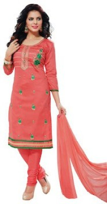 Oomph! Cotton Embroidered Salwar Suit Dupatta Material(Un-stitched)