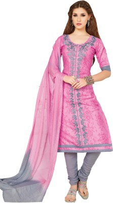 Oomph! Cotton Embroidered Salwar Suit Dupatta Material(Unstitched)