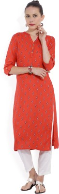 Melange by Lifestyle Women Solid, Printed Straight Kurta(Orange)