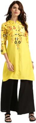 Anouk Women Printed Straight Kurta(Yellow)