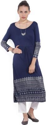 Melange by Lifestyle Women Solid, Floral Print Straight Kurta(Blue)