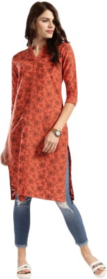 Anouk Women Printed A-line Kurta(Orange)