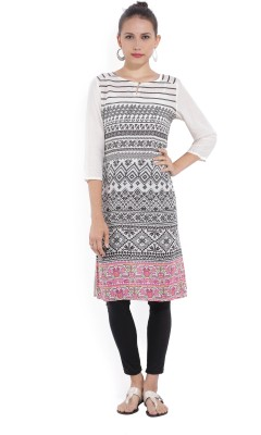 Melange by Lifestyle Women Solid, Geometric Print Straight Kurta(White)