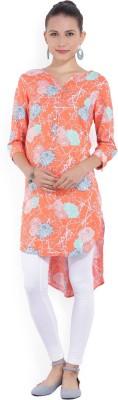 Melange by Lifestyle Women Floral Print Straight Kurta(Orange)