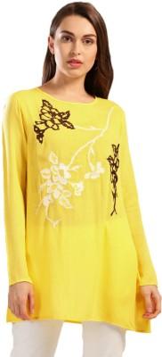 Anouk Women Solid A-line Kurta(Yellow)