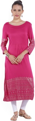 Melange by Lifestyle Women Solid Straight Kurta(Pink)