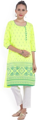 Melange by Lifestyle Women Solid, Printed Straight Kurta(Light Green)