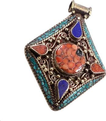 Silvesto India PG-117586 Silver Lapis Lazuli, Coral, Turquoise Stone