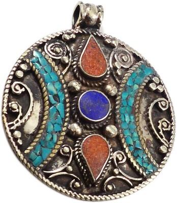 Silvesto India PG-117599 Silver Lapis Lazuli, Coral, Turquoise Stone