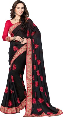 M.S.Retail Embroidered Bollywood Satin Saree(Black)