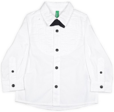 United Colors of Benetton Boys Solid Casual White Shirt at flipkart
