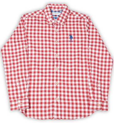US Polo Kids Boys Checkered Casual Button Down Shirt