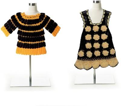 AV Woven Round Neck Party Baby Girl's Yellow, Black Sweater