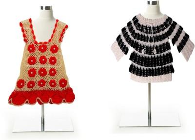 AV Woven Round Neck Party Baby Girl's Red, Black Sweater