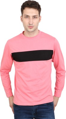 Scorpius Solid Men Round Neck Pink T-Shirt