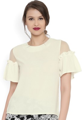 Rare Casual Short Sleeve Solid Women White Top