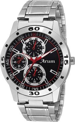 Arum ASMW-020 White Dial Brown Strap Watch  - For Men