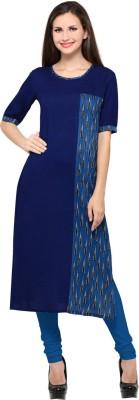 Saara Women Printed, Solid, Geometric Print Straight Kurta(Blue)