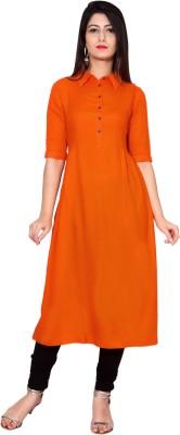 Metro Fashion Women Solid Straight Kurta(Orange)