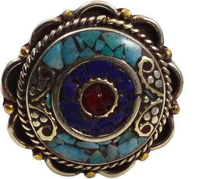 Silver Prince Designer Turquoise, Coral, Lapis Lazuli Silver Pendant