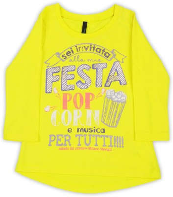 United Colors of Benetton Girls Printed Cotton T Shirt(Yellow, Pack of 1)