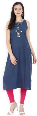 Melange by Lifestyle Solid, Floral Print Women Straight Kurta(Blue)