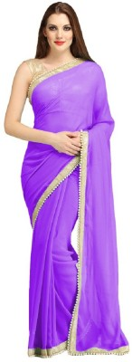 B BELLA CREATION Solid Daily Wear Georgette Saree(Purple)