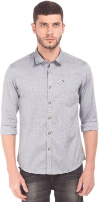 Flying Machine Men Printed Casual Grey Shirt at flipkart
