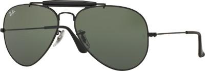 Ray-Ban Round Sunglasses(Green) at flipkart