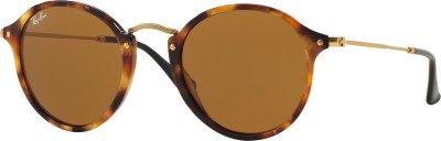 Ray-Ban Round Sunglasses(Brown) at flipkart