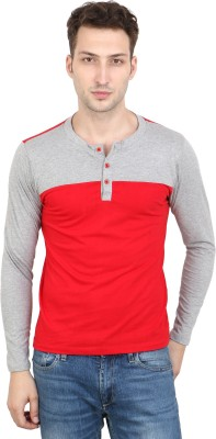 Scorpius Solid Men Henley Red T-Shirt