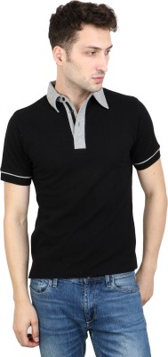 Scorpius Solid Men Polo Neck Black T-Shirt