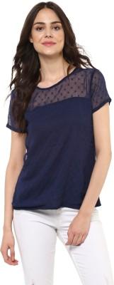 MAYRA Casual Short Sleeve Self Design Women Dark Blue Top MAYRA Women's Tops