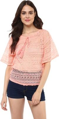 Mayra Casual Half Sleeve Embroidered Women Orange Top