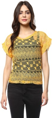 MAYRA Casual Half Sleeve Solid Women Yellow Top MAYRA Women's Tops