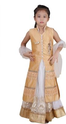 Crazeis Girls Lehenga Choli Western Wear Embroidered Lehenga Choli(Beige, Pack of 1)