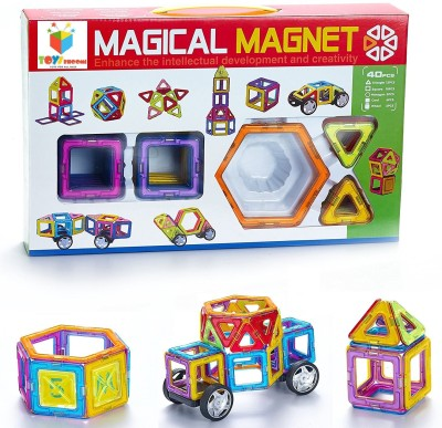 Toys Bhoomi 40 piece Magical Magnetic Stacking Block Tiles Learning STEM Activity Playset(Multicolor)