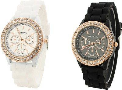 keepkart GENEVA Platinum White And Black Silicon Strap Diamond Studed Watch For Woman And Girls Watch  - For Girls