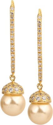 Sri Shringarr Fashion Traditional Micro Gold Polished Cubic Zirconia Brass Drop Earring