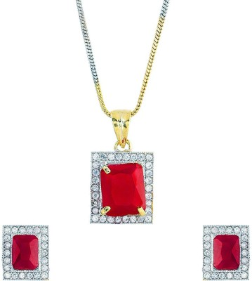Bandish Alloy Jewel Set(Red, Gold, White)
