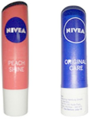 Nivea PEACH SHINE LIP BALM 4.8GM + NIVEA ORIGINAL CARE LIP BALM 4.8GM PEACH SHINE(4.8 g)