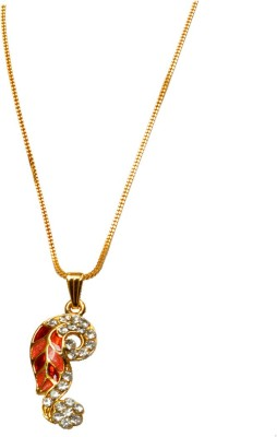 Men Style Fashion Design Crystal Leaf Pendant High Quality Gold Chain Necklace Crystal, Alloy Pendant Set