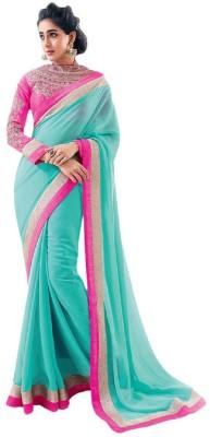 Saumya Designer Embroidered, Solid Bollywood Faux Georgette Saree(Light Blue) Flipkart