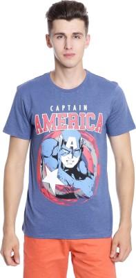 Captain America Graphic Print Men's Round Neck Light Blue T-Shirt
